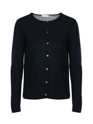 Stefanel Crew Neck Cotton Crepe Cardigan Navy