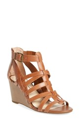 Jessica Simpson Women's Cloe Wedge Sandal Burnt Umber Leather
