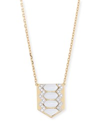 David Webb Motif Diamond And White Enamel Shield Necklace