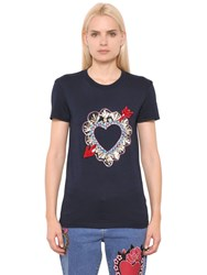 House Of Holland Heart Embroidered Cotton Jersey T Shirt Blue