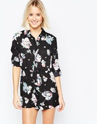 Daisy Street Shirt Dress In Floral Print Black
