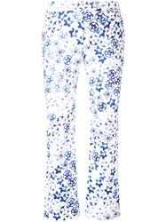 Incotex Allover Print Cropped Trousers White
