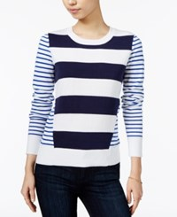 Maison Jules Striped Sweater Only At Macy's Bright White Combo