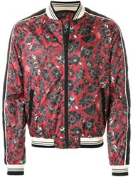 Just Cavalli Floral Printed Bomber Jacket Red