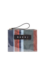 Marni Striped Leather Trimmed Pvc Pouch Blue Multi