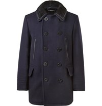 Tom Ford Shearling Trimmed Wool Blend Peacoat Navy