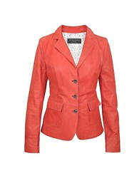 Forzieri Three Button Red Leather Jacket