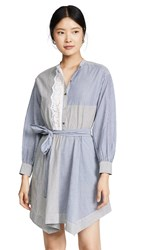 Rebecca Taylor La Vie Long Sleeve Eyelet Stripe Dress Blue Black Combo