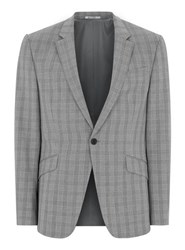 Topman Mid Grey Grey And Black Check Muscle Fit Suit Jacket
