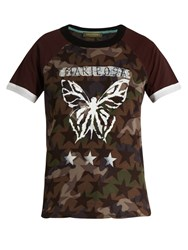 Valentino Butterfly Print Cotton T Shirt Khaki