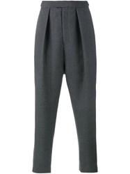Curieux Pleated Tapered Trousers Grey
