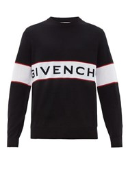 Givenchy Logo Panel Jacquard Knitted Wool Sweater Black White
