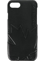 Dsquared2 Embossed Maple Leaf Iphone Case Black
