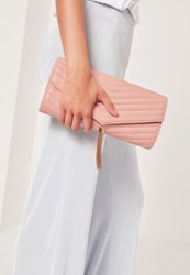 Missguided Chevron Quilted Tassel Clutch Bag Nude