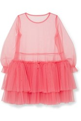 Molly Goddard Tiered Tulle Mini Dress Pink