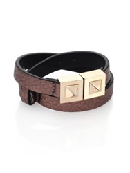 Valentino Two Stud Metallic Leather Wrap Bracelet Gold Brown