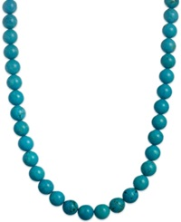 Macy's Manufactured Turquoise Bead Necklace In Sterling Silver 550 Ct. T.W.