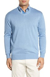Peter Millar Men's Silk Blend V Neck Sweater Tar Heel B