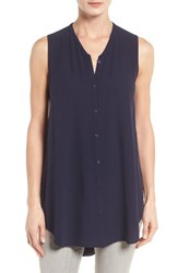 Eileen Fisher Women's Silk Georgette Crepe Asymmetrical V Neck Top Midnight