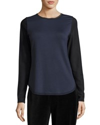 Elie Tahari Perry Long Mesh Sleeve Knit Top Blue