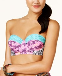 Hula Honey Leaf Breeze Printed Underwire Push Up Midkini Top Women's Swimsuit Pink Lilac