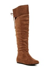 West Blvd Shoes Bangkok Faux Suede Over The Knee Boot Brown