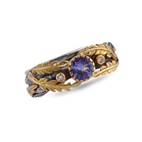 Emma Chapman Jewels Lattice Tanzanite And Diamond Gold Ring Blue