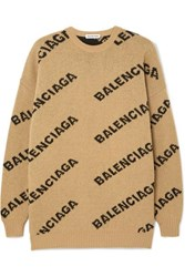 Balenciaga Oversized Intarsia Wool Blend Sweater Beige