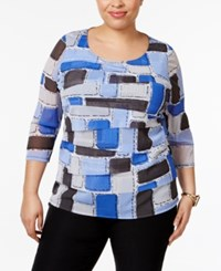 Alfani Plus Size Tiered Printed Mesh Top Only At Macy's Blue Structured Blocks
