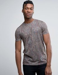 Asos T Shirt With All Over Paisley Print Green