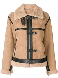 Victoria Beckham Shearling Fitted Jacket Nude And Neutrals