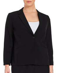 Tahari By Arthur S. Levine Plus Classic Fit Long Sleeve Blazer Black