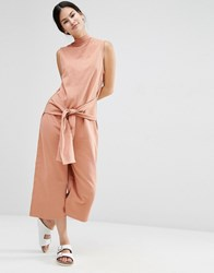 Asos Sweat Jumpsuit With Tie Front Salmon Pink