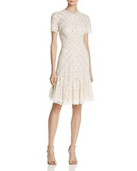 Tadashi Shoji Lace Flared Cocktail Dress White Pearl