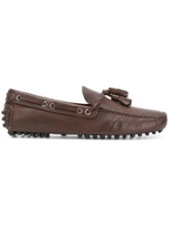 Car Shoe Tassle Slip On Loafers Brown