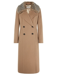 Planet Double Breasted Faux Fur Coat Camel