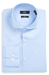Boss Men's Big And Tall 'Jason' Slim Fit Solid Stretch Dress Shirt Light Pastel Blue