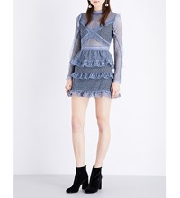 Self Portrait Dot Mesh Tiered Lace Dress Dove Grey