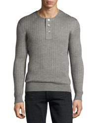 Tom Ford Lightweight Cashmere Silk Ribbed Henley Light Gray
