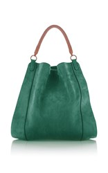 Agnona Suede And Nappa Leather Fobo Bag Green