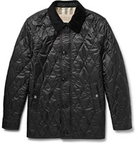Burberry Gransworth Leather And Corduroy Trimmed Quilted Shell Jacket Black