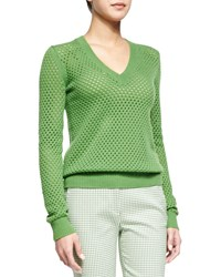 Michael Kors Cashmere Blend Pointelle V Neck Sweater Lawn Women's