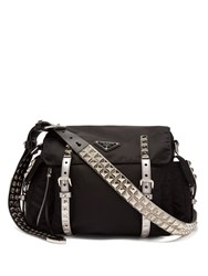 Prada New Vela Leather Trimmed Cross Body Bag Black Silver