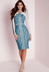 Missguided Lace Trim Long Sleeve Midi Dress Teal Blue