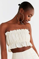 Urban Outfitters Uo Ila Swiss Dot Tube Top Ivory