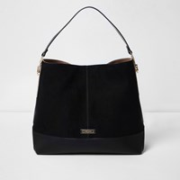 River Island Womens Black Panel Slouch Bag