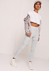 Missguided Faux Suede Zip Waist Biker Knee Leggings Grey Grey