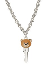 Moschino Teddy Bear Key Necklace Silver