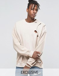 Reclaimed Vintage Oversized Sweatshirt With Overdye And Distressing Pink Stone
