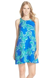 Lilly Pulitzer 'Wright' Print Crepe A Line Shift Dress Blue Crush